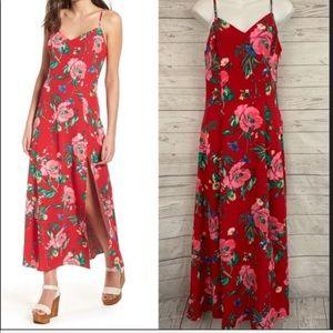 LOVE, FIRE FLORAL RED MAXI SLIT DRESS